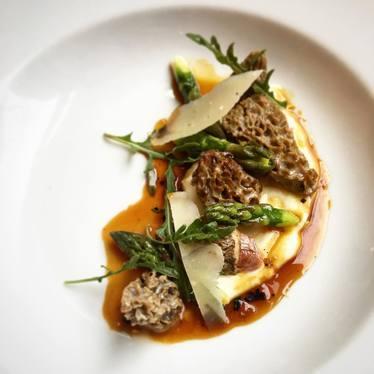 Morels Farcie & Asparagus, Parmesan, Wild Arugula, Truffle Jus at Vaucluse