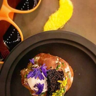 White miso cream-fillled donut with caviar at Waypoint