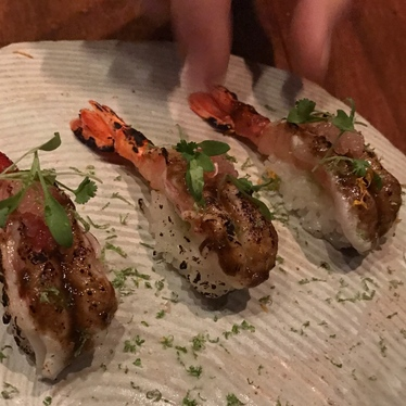 Jerk prawn nigiri at O Ya