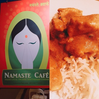 Chicken masala curry and rice.  at Namaste Cafe
