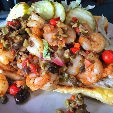 Sautéed Louisiana gulf shrimp po'boy with homemade olive salad at Heaven on Seven