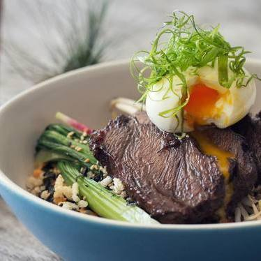 Beefsteak bowls with short rib, soft-boiled egg and vegetables at Beefsteak