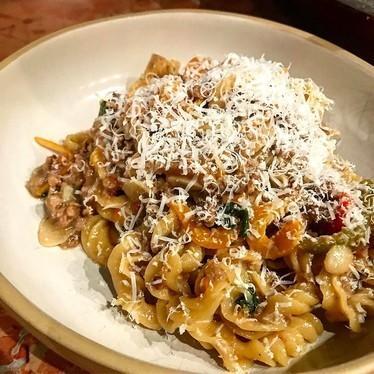 Fusilli, white lamb bolognese, preserved Meyer lemons, roasted peppers, mint at Rubirosa