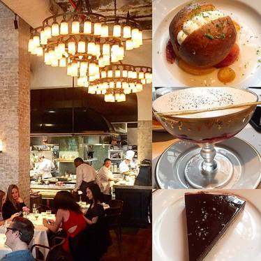 Chocolate torte, panna cotta and profiterole at Le Coucou