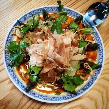 Soft Tofu Century Egg and Black Garlic Vin Dressing at Fat Mao