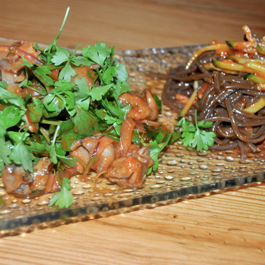 Spicy whelk salad with buckwheat noodles at Danji