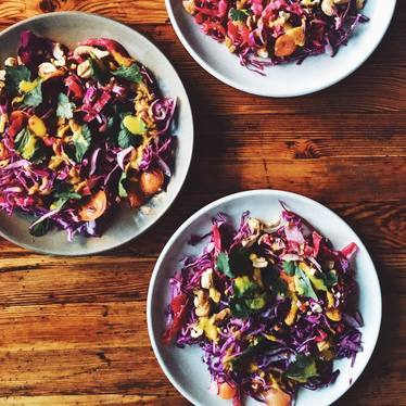 Cabbage, cashews, cilantro, honey, and turmeric dressing at Ned Ludd