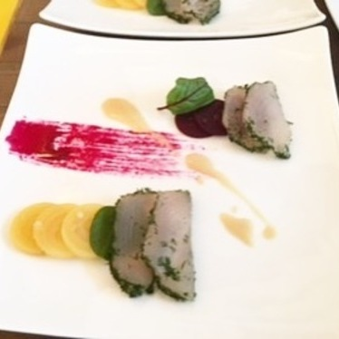 Wahoo fish with pickled beets, beet gastrique, and dressing at Red Rooster