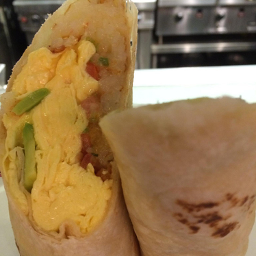 Chorizo breakfast burrito at The Grind Cafe