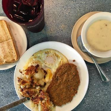 Chicken Fried Steak with eggs and potatoes at Rae's Diner