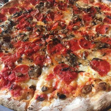 Pepperoni sausage pizza at John's of Bleecker Street
