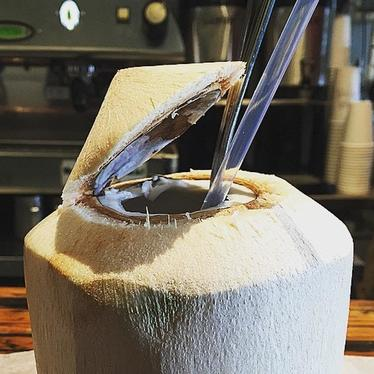 Fresh coconut at Trouble Coffee