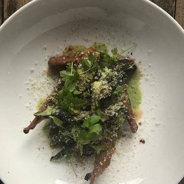 Quail, asparagus, lovage, hazelnut at Lula Café