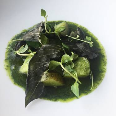 Snails, nettle purée, potatoes, basil at Otway