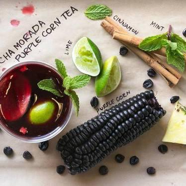 Peruvian purple corn tea with mint and lemon at Rosaliné