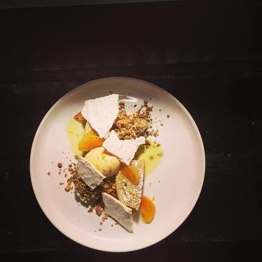 Olive oil cake with burnt orange, pistachio and vanilla at Eating House