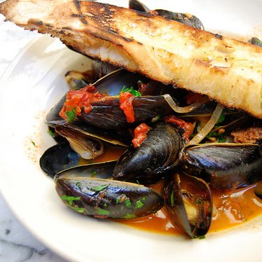 P.E.I. mussels with chorizo at Gjelina