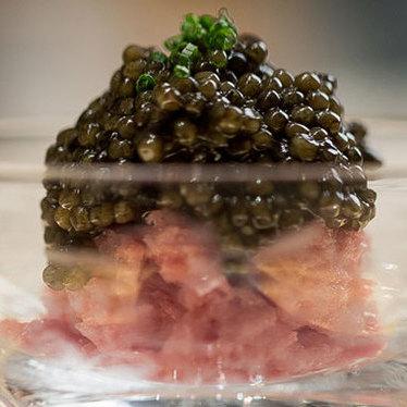 Toro tartare w/ caviar at Masa