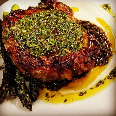 Grassfed ribeye with chimichurri and asparagus at Marlowe