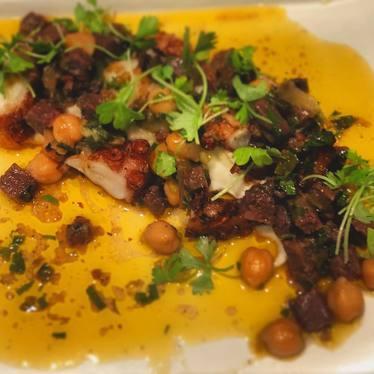 New dish: Pulpo octopus, garbanzo, potato puree, morcilla & green garlic salsa at Bellota