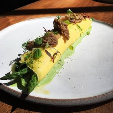 Spring omelette with morels, asparagus and green garlic at Orsa & Winston