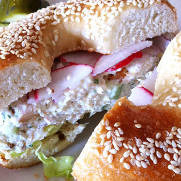 Smoked trout bagel sandwich at Beauty's Bagel Shop
