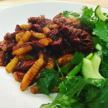 Cavatelli, spicy Szechuan beef tongue, tripe ragu with tiger salad at Le Farfalle
