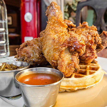 Fried chicken and waffles at The Biltmore Bar & Grille
