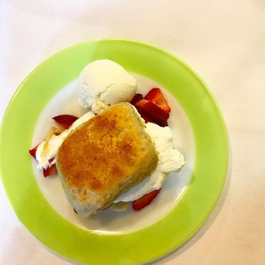 Strawberry shortcake with buttermilk gelato at Cafe Margot