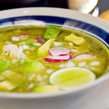 Posole verde at El Molino Central