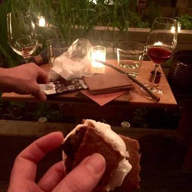 S'mores and red wine at Olmsted