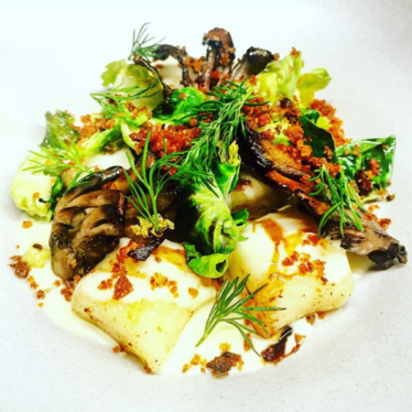 POTATO DUMPLINGS, MAITAKE, BRUSSELS, COMTÉ, RYE at Aster