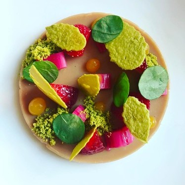 Duck liver pistachio, rhubarb, sorrel, and citrus at Volt