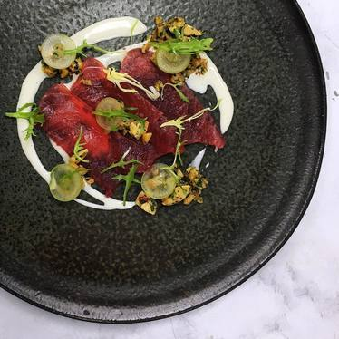 Tuna crudo, white gazpacho, green grapes, Marcona almond, manzanilla olives at Sepia