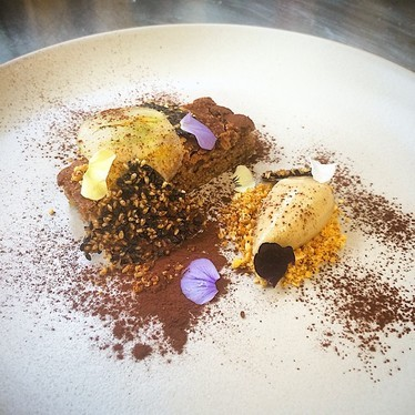 Green tomato cake, ice cream, benne, cocoa powder, dry chili nuts at The National