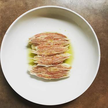 Raw beef with lemon, parmigiano, and celery root at Eating House