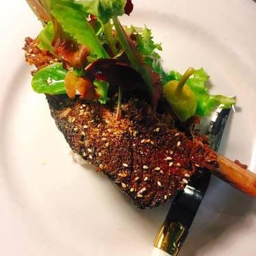 Smoked beef short rib, Gnome farm lettuce, Furikake vinegret at Chef Shack Bay City, WI