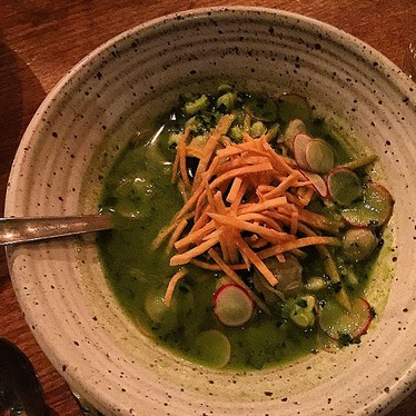 Clam pozole verde at Rustic Canyon Wine Bar