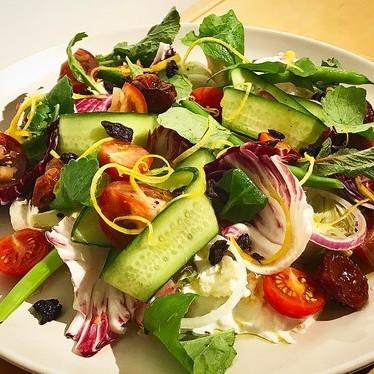 Mozzarella di bufala, spring salad at Theorita