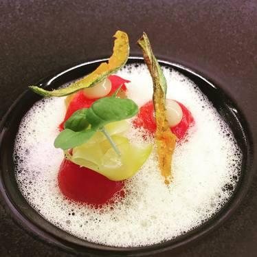 Tomato salad in foam at Alo