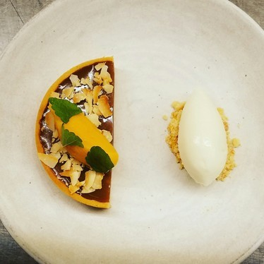 Coconut/coffee tart, fall squash, makrut lime! at Aster