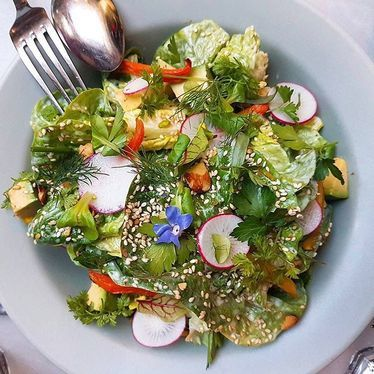 Little gems with avocado, breakfast radish, toasted seeds, almonds, herbs, flowers and green goddess dressing at République