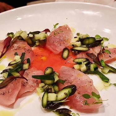 Hiramasa Crudo with Asparagus, Orange Mint and Blood Orange at The Purple Pig