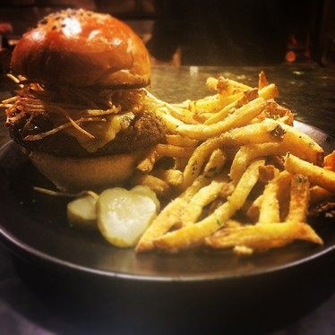 Burger with truffle fries  at Stars Rooftop & Grill Room