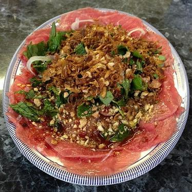 Raw beef salad at My Canh