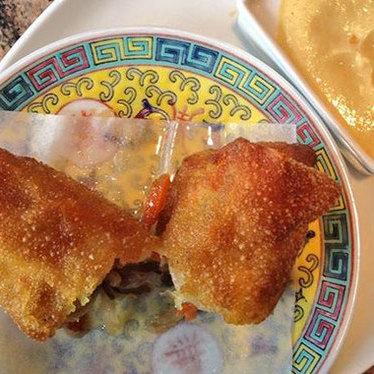 Shrimp and vegetable egg roll at Blackbrick Chinese