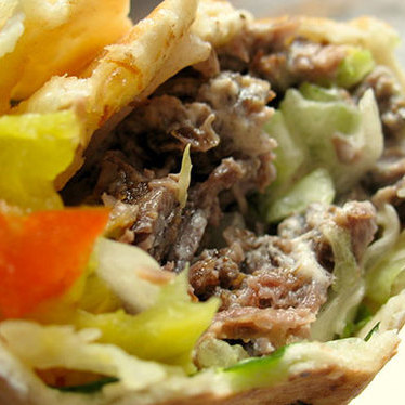 Lamb shawarma roll-up at Moody's Falafel Palace