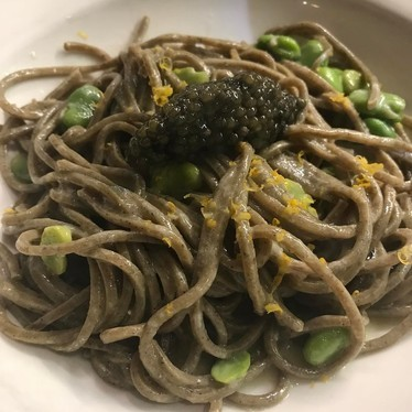 Buckwheat Tagliolini with golden osetra, caviar, favas and Meyer lemon at Il Buco