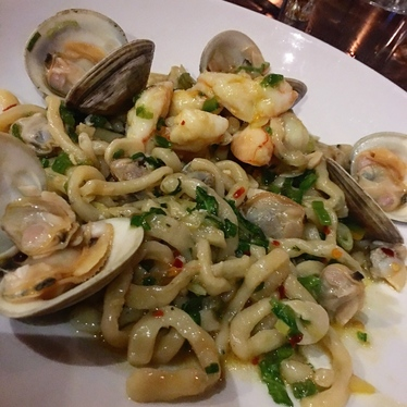 Scialatielli w Clams, Shrimp & Chili at Compère Lapin