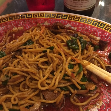 Chinese wok noodle at Stickers Asian Cafe